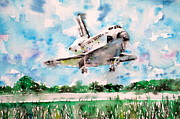 Space Ships Paintings - Space Shuttle Landing by Fabrizio Cassetta