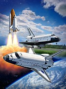 Aircraft Art Posters - Space Shuttle Montage Poster by Stu Shepherd