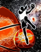 Basketball Abstract Digital Art Posters - Space Slam  Poster by David G Paul