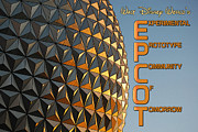 Disney World Framed Prints - Spaceship Earth Sunset Profile EPCOT Walt Disney World Poster Edges  Framed Print by Shawn OBrien