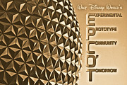 Rustic Digital Art Posters - Spaceship Earth Sunset Profile EPCOT Walt Disney World Poster Rustic Diffuse Glow Poster by Shawn OBrien