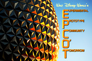 Geodesic Dome Digital Art - Spaceship Earth Sunset Profile EPCOT Walt Disney World Poster Vivid by Shawn OBrien