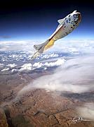 Aircraft Print Framed Prints - SpaceShipOne Framed Print by Larry McManus