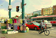 Streetscenes Paintings - Spadina Street Vendor Chinatown Cyclists Cable Cars And Cabs Cityscapes Toronto Art Carole Spandau by Carole Spandau
