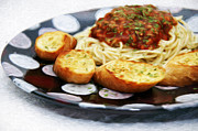 All - Spaghetti And Garlic Toast Painting 2 by Andee Photography