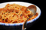 Supper Bowl Prints - Spaghetti And Meat Sauce With Spoon Print by Andee Photography