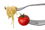Spaghetti Prints - Spaghetti And Tomato On Forks Isolated Print by Lee Avison