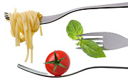 Spaghetti Prints - Spaghetti Basil And Tomato On Forks Isolated Print by Lee Avison