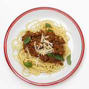 Spaghetti Prints - Spaghetti bolognese from above Print by Paul Cowan