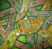 Traffic Drawings Prints - Spaghetti Junction Print by Rhodes Rumsey