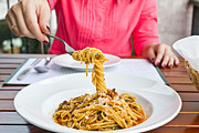Spaghetti Noodles Photo Posters - Spaghetti on the fork Poster by Tosporn Preede