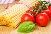 Spaghetti Noodles Prints - Spaghetti with tomatoes and basil Print by Palatia Photo