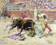 Featured Metal Prints - SPAIN - BULLFIGHT c1900 Metal Print by Granger