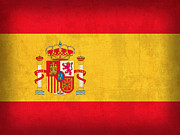 Spain Prints - Spain Flag Vintage Distressed Finish Print by Design Turnpike