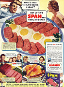 Twentieth Century Framed Prints - Spam 1960s Usa Hormel Meat Tinned Framed Print by The Advertising Archives