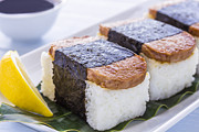 Local Food Metal Prints - Spam Musubi Metal Print by Leigh Anne Meeks