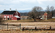 Red Barn Prints Framed Prints - Spanglers Farm Framed Print by John Rizzuto