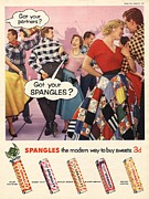 Twentieth Century Drawings Posters - Spangles 1956 1950s Uk Sweets Party Poster by The Advertising Archives