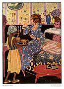 Hot Drawings Prints - Spanish Afternoon Tea 1920s Spain Cc Print by The Advertising Archives