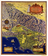 Los Angeles Drawings Metal Prints - Spanish and Mexico Ranchos Metal Print by Pg Reproductions