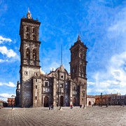 Spanish Digital Art Prints - Spanish Colonial Cathedral of Puebla Mexico Print by Mark E Tisdale