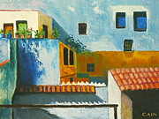 Charming Cottage Painting Posters - Spanish Courtyard Poster by William Cain