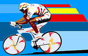 Sassan Filsoof Prints - spanish cycling athlete illustration print Miguel Indurain Print by Sassan Filsoof