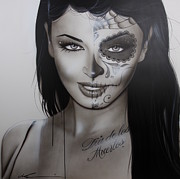 Sugar Skull Paintings - Spanish Dark Temptation by Christian Chapman Art