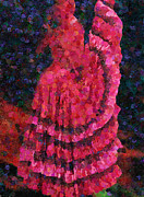 Magenta Dress Posters - Spanish Dress  Poster by Zeana Romanovna