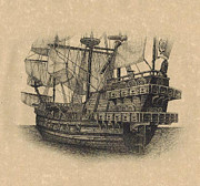 Parchment Drawings Prints - Spanish Galleon II Print by Tanya Crum