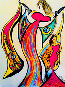 Masterpiece Mixed Media Prints - Spanish Guitar Print by Artista Elisabet