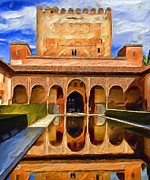 Moorish Digital Art - Spanish Reflections by Cary Shapiro