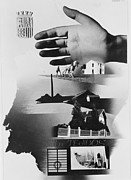 Spanish Poster Art Posters - Spanish War Poster c1935-1942 the protective hand of the State shielding the nation Poster by Anonymous