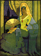 Books Drawings Posters - Spanish Woman With Fan 1920s Spain Cc Poster by The Advertising Archives