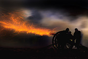 Robert Jensen Metal Prints - Spark trails from cannon howitzer blast Metal Print by Robert Jensen