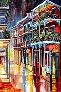 Rainy Street Painting Framed Prints - Sparkling French Quarter Framed Print by Diane Millsap