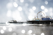 Santa Monica Digital Art Metal Prints - Sparkling Grey Santa Monica Pier Metal Print by Christine Britten
