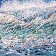 Waves Paintings - Sparkling Surf by Victoria Primicias