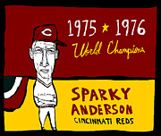 Detroit Tigers Art Paintings - Sparky Anderson Cincinnati Reds by Jay Perkins