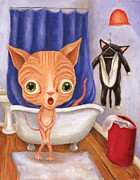 Sphynx Cat Paintings - Sparkys Tubby Time by Vicky Knowles