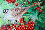Sparrow Mixed Media - Sparrow on a Berry Bush by Martin Way