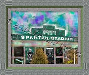 Football Paintings - Spartan Stadium by Donald Pavlica