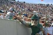 Spartans Prints - Sparty at a football game with kid  Print by John McGraw