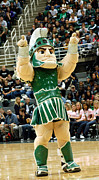 Msu Prints - Sparty at Basketball Game  Print by John McGraw