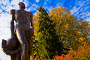 Spartans Prints - Sparty from below in Autumn Print by John McGraw