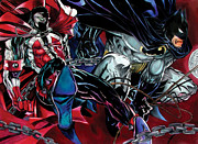 Dc Comics Drawings - Spawn and Batman by Scott Parker