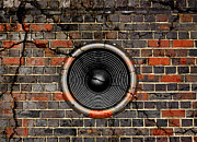 Grime Digital Art Posters - Speaker on a cracked brick wall Poster by Steve Ball