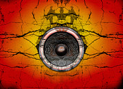 Grime Digital Art Framed Prints - Speaker on a cracked wall background Framed Print by Steve Ball