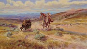 Prairie Sky Paintings - Spearing A Buffalo by Charles Marion Russell