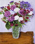 Mahogany Red Painting Prints - Special Bouquet in Crystal Vase on Heirloom Table Print by Gail Darnell